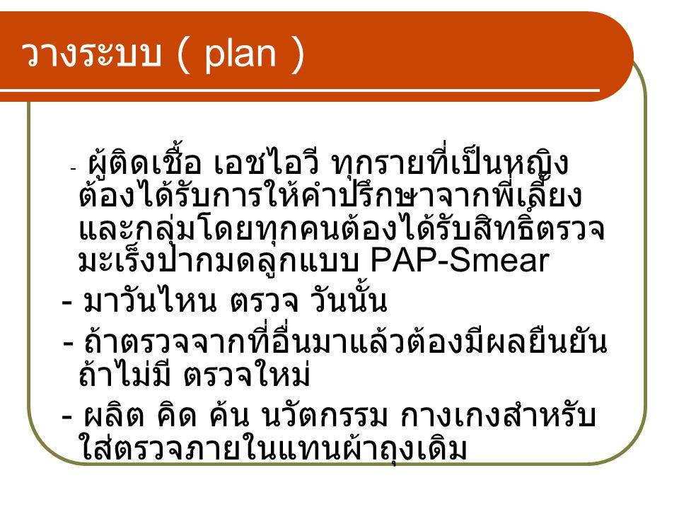 วางระบบ ( plan ) - ผู้ติดเชื้อ เอชไอวี ทุกรายที่เป็นหญิง ต้องได้รับการให้คำปรึกษาจากพี่เลี้ยง และกลุ่มโดยทุกคนต้องได้รับสิทธิ์ตรวจ มะเร็งปากมดลูกแบบ PAP-Smear - มาวันไหน ตรวจ วันนั้น - ถ้าตรวจจากที่อื่นมาแล้วต้องมีผลยืนยัน ถ้าไม่มี ตรวจใหม่ - ผลิต คิด ค้น นวัตกรรม กางเกงสำหรับ ใส่ตรวจภายในแทนผ้าถุงเดิม