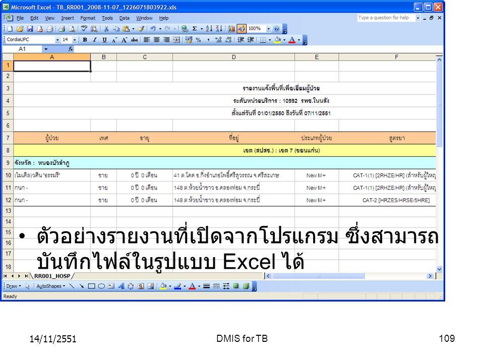 14/11/2551DMIS for TB109 ตัวอย่างรายงานที่เปิดจากโปรแกรม ซึ่งสามารถ บันทึกไฟล์ในรูปแบบ Excel ได้