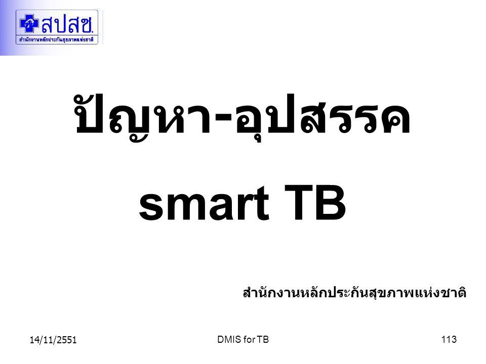 14/11/2551DMIS for TB113 ปัญหา - อุปสรรค smart TB สำนักงานหลักประกันสุขภาพแห่งชาติ