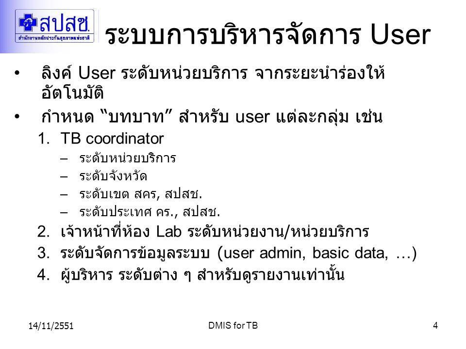 "14/11/2551DMIS for TB4 ระบบการบริหารจัดการ User ลิงค์ User ระดับหน่วยบริการ จากระยะนำร่องให้ อัตโนมัติ กำหนด "" บทบาท "" สำหรับ user แต่ละกลุ่ม เช่น 1.T"