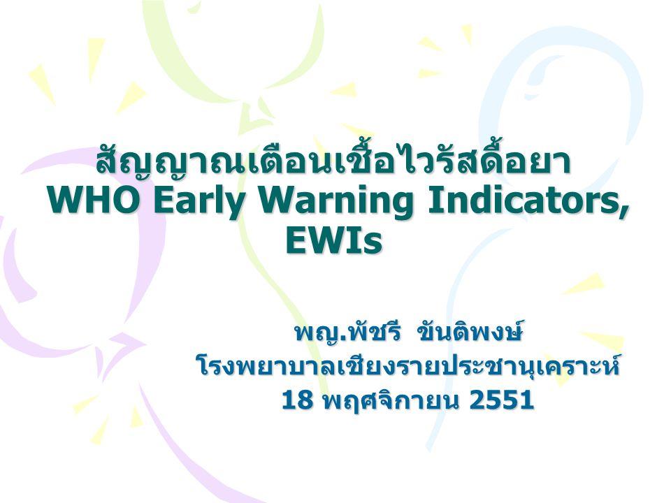 สัญญาณเตือนเชื้อไวรัสดื้อยา WHO Early Warning Indicators, EWIs พญ.พัชรี ขันติพงษ์ โรงพยาบาลเชียงรายประชานุเคราะห์ 18 พฤศจิกายน 2551