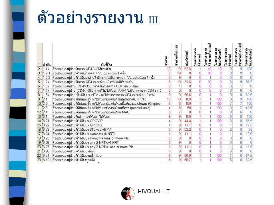HIVQUAL – T ตัวอย่างรายงาน II