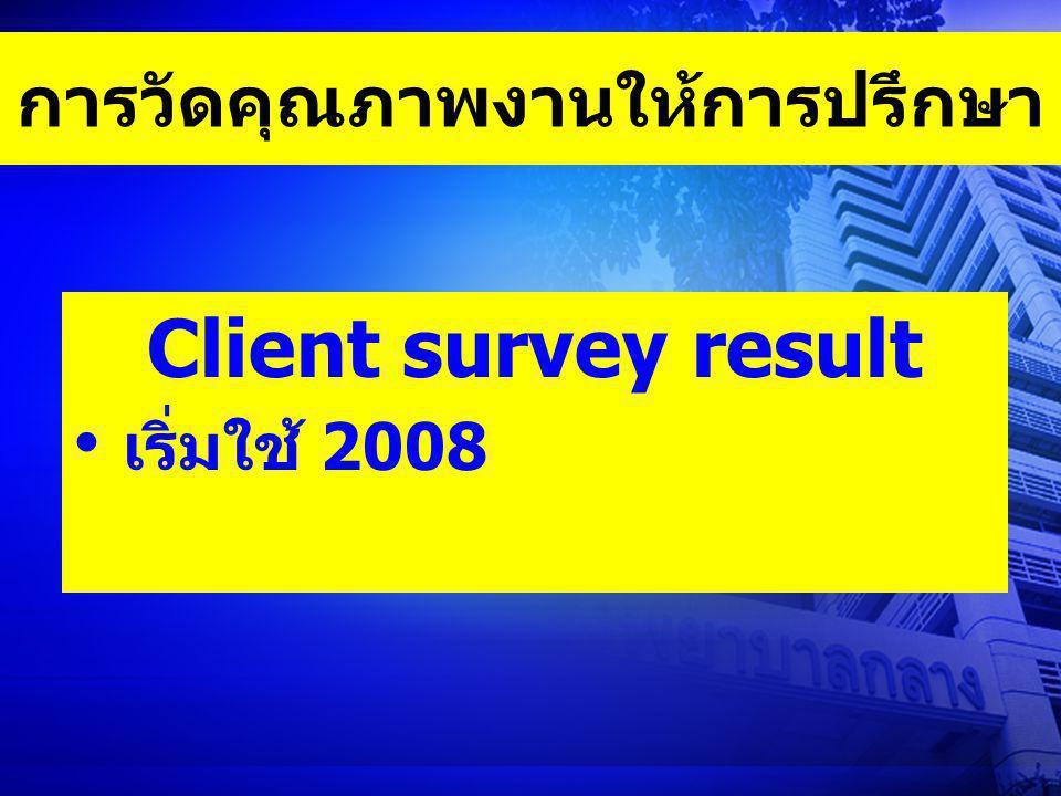 การวัดคุณภาพงานให้การปรึกษา Client survey result เริ่มใช้ 2008