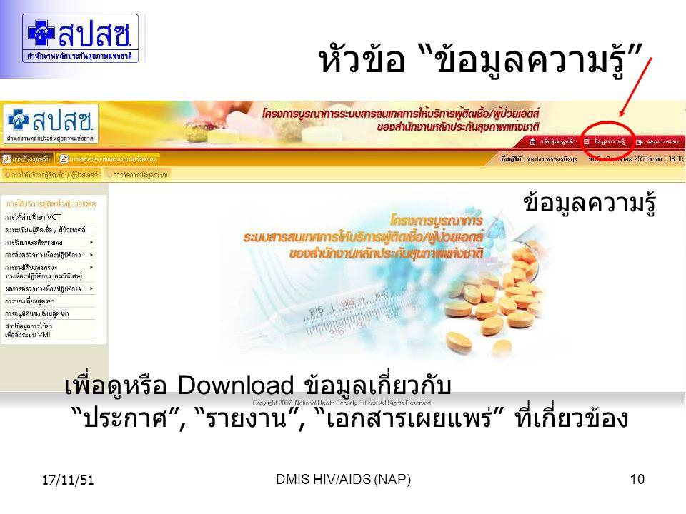 17/11/51DMIS HIV/AIDS (NAP)10 หัวข้อ ข้อมูลความรู้ ข้อมูลความรู้ เพื่อดูหรือ Download ข้อมูลเกี่ยวกับ ประกาศ , รายงาน , เอกสารเผยแพร่ ที่เกี่ยวข้อง