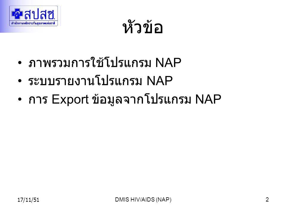 17/11/51DMIS HIV/AIDS (NAP)2 หัวข้อ ภาพรวมการใช้โปรแกรม NAP ระบบรายงานโปรแกรม NAP การ Export ข้อมูลจากโปรแกรม NAP