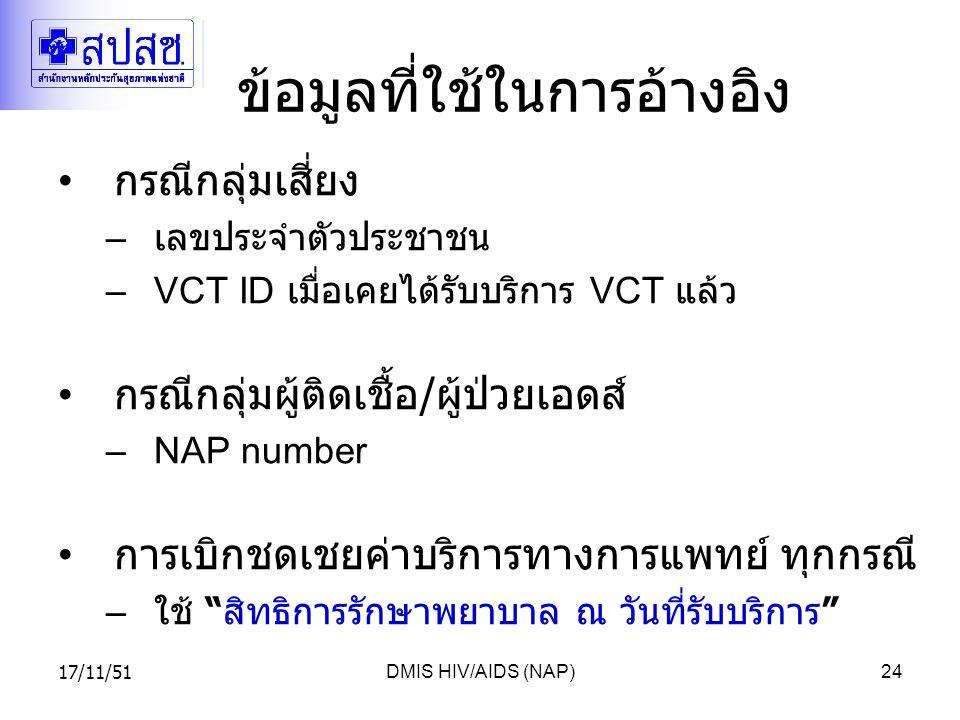 17/11/51DMIS HIV/AIDS (NAP)24 ข้อมูลที่ใช้ในการอ้างอิง กรณีกลุ่มเสี่ยง – เลขประจำตัวประชาชน –VCT ID เมื่อเคยได้รับบริการ VCT แล้ว กรณีกลุ่มผู้ติดเชื้อ / ผู้ป่วยเอดส์ –NAP number การเบิกชดเชยค่าบริการทางการแพทย์ ทุกกรณี – ใช้ สิทธิการรักษาพยาบาล ณ วันที่รับบริการ