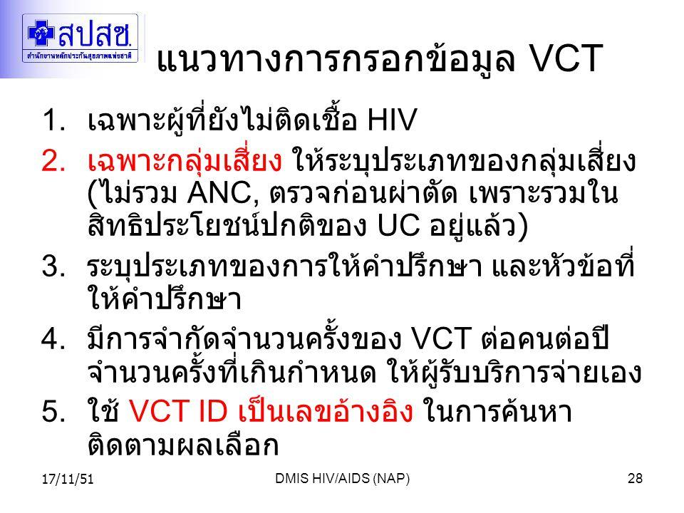 17/11/51DMIS HIV/AIDS (NAP)28 แนวทางการกรอกข้อมูล VCT 1.