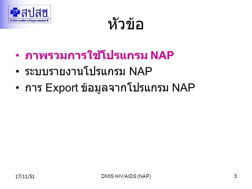 17/11/51DMIS HIV/AIDS (NAP)3 หัวข้อ ภาพรวมการใช้โปรแกรม NAP ระบบรายงานโปรแกรม NAP การ Export ข้อมูลจากโปรแกรม NAP