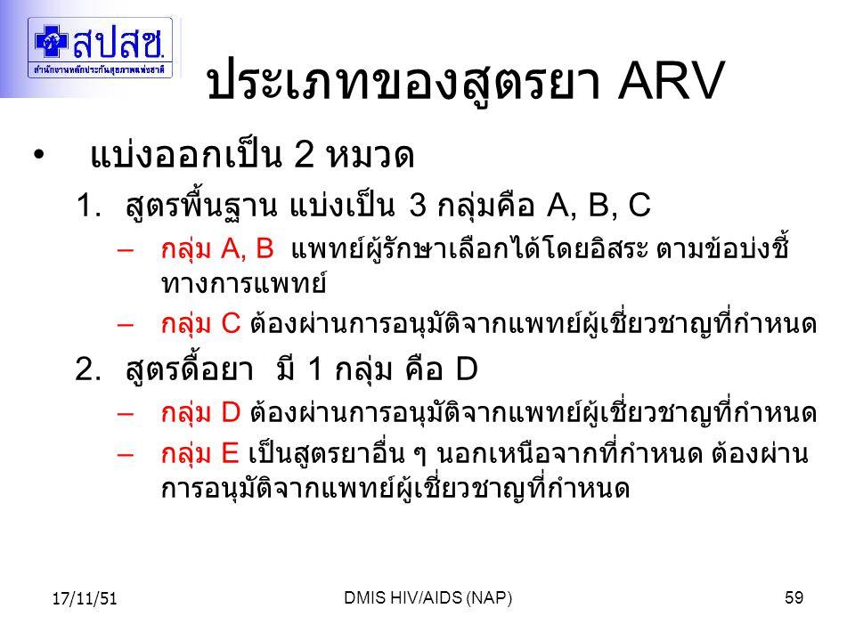 17/11/51DMIS HIV/AIDS (NAP)59 ประเภทของสูตรยา ARV แบ่งออกเป็น 2 หมวด 1.