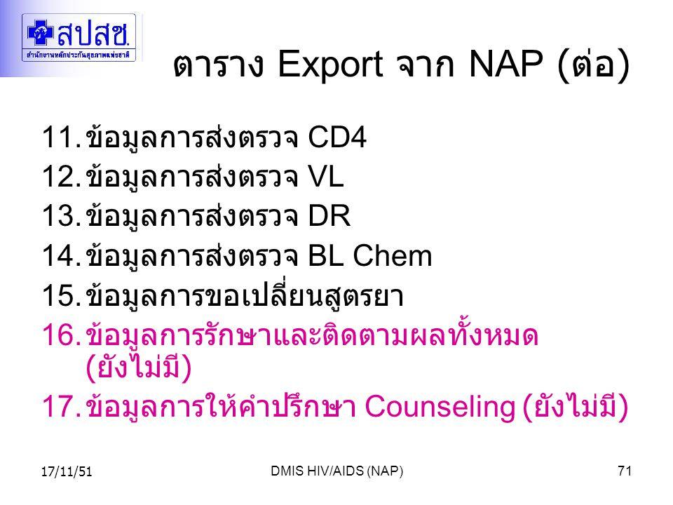 17/11/51DMIS HIV/AIDS (NAP)71 ตาราง Export จาก NAP ( ต่อ ) 11.
