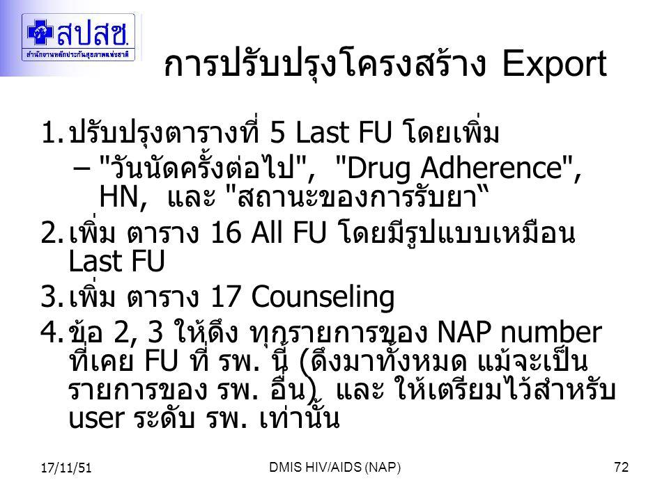 17/11/51DMIS HIV/AIDS (NAP)72 การปรับปรุงโครงสร้าง Export 1.ปรับปรุงตารางที่ 5 Last FU โดยเพิ่ม – วันนัดครั้งต่อไป , Drug Adherence , HN, และ สถานะของการรับยา 2.เพิ่ม ตาราง 16 All FU โดยมีรูปแบบเหมือน Last FU 3.เพิ่ม ตาราง 17 Counseling 4.ข้อ 2, 3 ให้ดึง ทุกรายการของ NAP number ที่เคย FU ที่ รพ.
