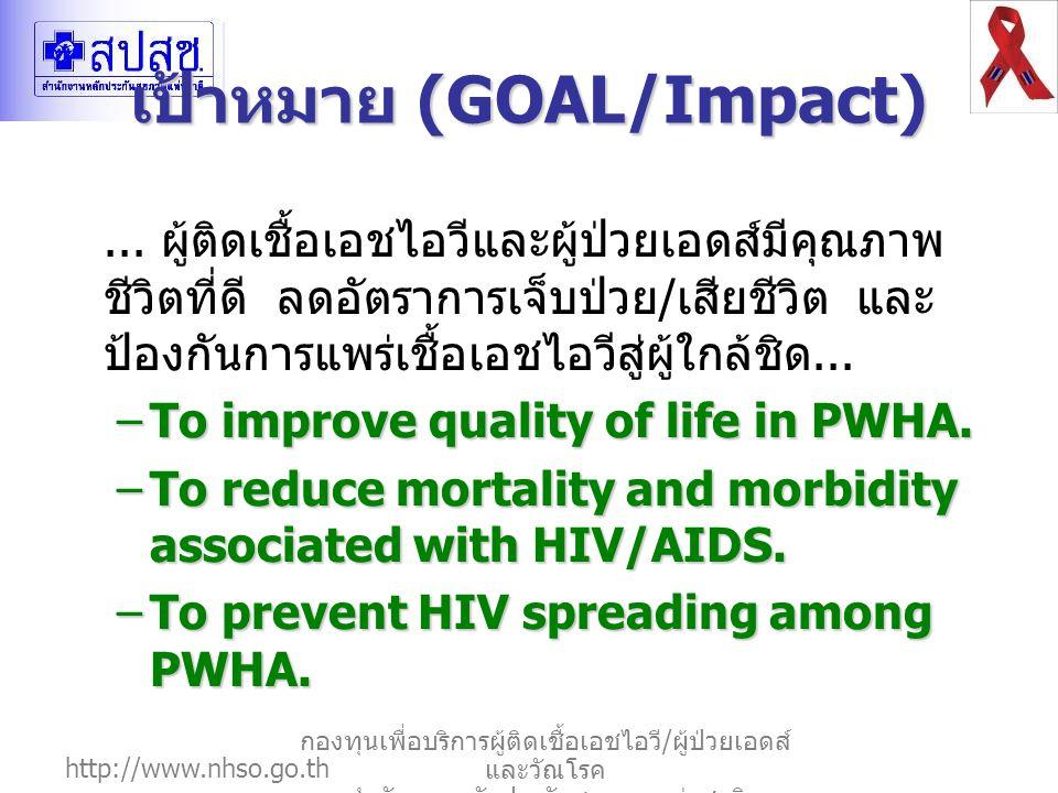 http://www.nhso.go.th กองทุนเพื่อบริการผู้ติดเชื้อเอชไอวี / ผู้ป่วยเอดส์ และวัณโรค สำนักงานหลักประกันสุขภาพแห่งชาติ เป้าหมาย (GOAL/Impact)... ผู้ติดเช