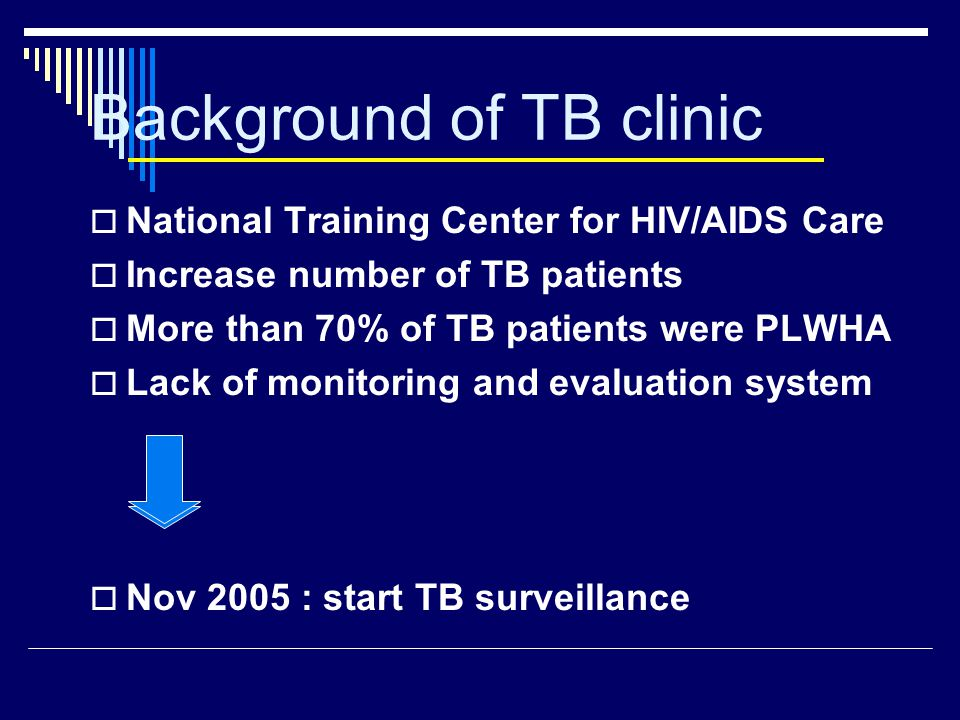 Background of TB clinic  National Training Center for HIV/AIDS Care  Increase number of TB patients  More than 70% of TB patients were PLWHA  Lack