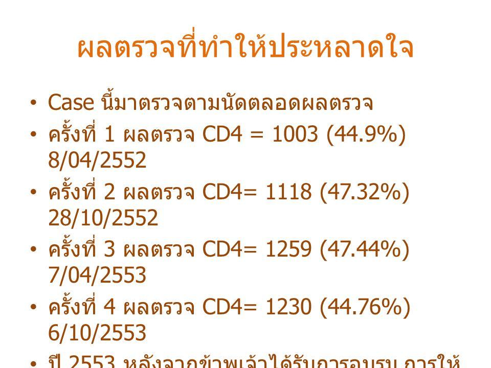 ผลตรวจที่ทำให้ประหลาดใจ Case นี้มาตรวจตามนัดตลอดผลตรวจ ครั้งที่ 1 ผลตรวจ CD4 = 1003 (44.9%) 8/04/2552 ครั้งที่ 2 ผลตรวจ CD4= 1118 (47.32%) 28/10/2552 ครั้งที่ 3 ผลตรวจ CD4= 1259 (47.44%) 7/04/2553 ครั้งที่ 4 ผลตรวจ CD4= 1230 (44.76%) 6/10/2553 ปี 2553 หลังจากข้าพเจ้าได้รับการอบรม การให้ คำปรึกษาผู้ป่วย HIV ณ โรงพยาบาลบำราศนรา ดูร ทำให้ข้าพเจ้าสังเกตเห็นผล CD4 ที่เพิ่มขึ้น จึงนำผลตรวจปรึกษาหัวหน้าทีม