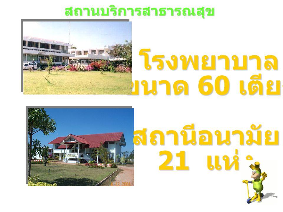 โรงพยาบาล ขนาด 60 เตียง สถานีอนามัย 21 แห่ง สถานบริการสาธารณสุข