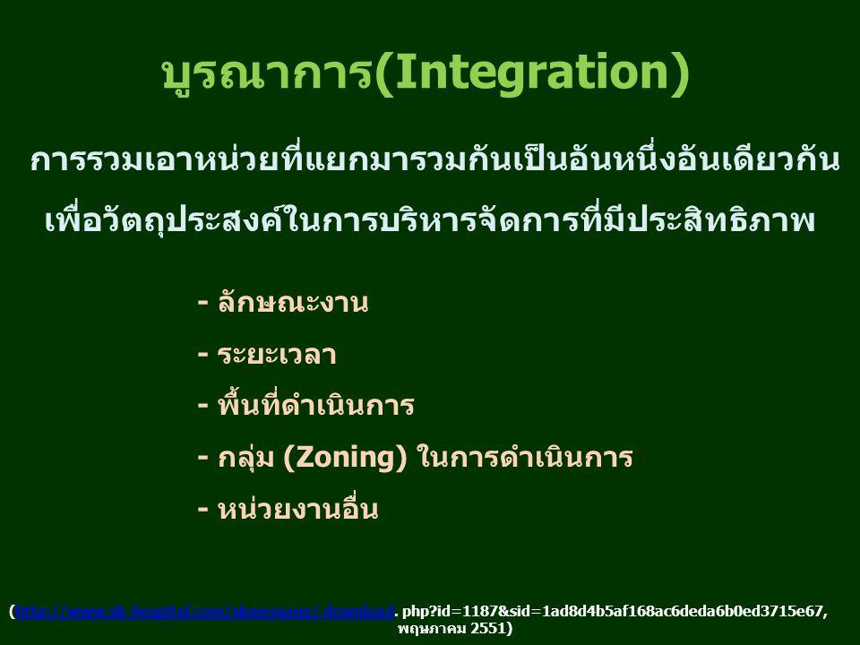 บูรณาการ(Integration) การรวมเอาหน่วยที่แยกมารวมกันเป็นอันหนึ่งอันเดียวกัน เพื่อวัตถุประสงค์ในการบริหารจัดการที่มีประสิทธิภาพ - ลักษณะงาน - ระยะเวลา - พื้นที่ดำเนินการ - กลุ่ม (Zoning) ในการดำเนินการ - หน่วยงานอื่น (http://www.sk-hospital.com/skmessage/ download.
