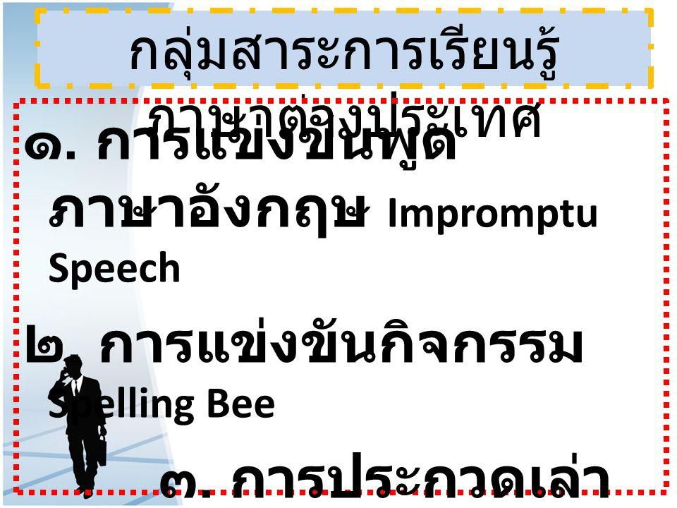 กลุ่มสาระการเรียนรู้ ภาษาต่างประเทศ ๑. การแข่งขันพูด ภาษาอังกฤษ Impromptu Speech ๒. การแข่งขันกิจกรรม Spelling Bee ๓. การประกวดเล่า นิทาน ( story Tell