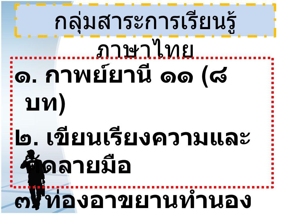 กลุ่มสาระการเรียนรู้ ภาษาไทย ๑. กาพย์ยานี ๑๑ ( ๘ บท ) ๒. เขียนเรียงความและ คัดลายมือ ๓. ท่องอาขยานทำนอง เสนาะ ๔. อ่านเอาเรื่อง ( อ่านในใจ )