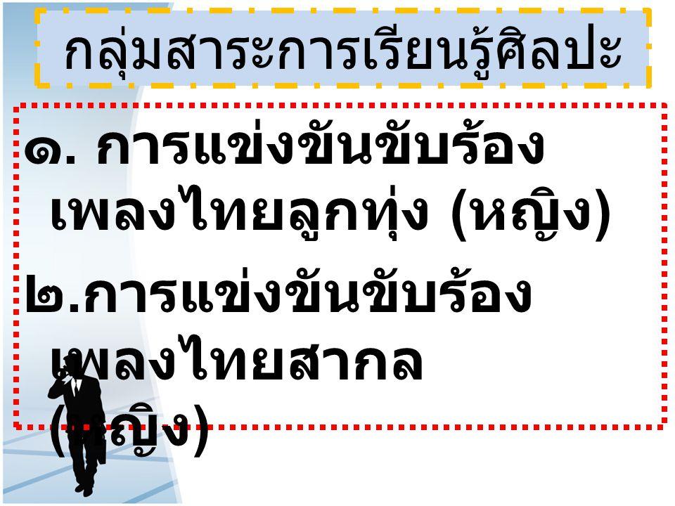 กลุ่มสาระการเรียนรู้ศิลปะ ๑. การแข่งขันขับร้อง เพลงไทยลูกทุ่ง ( หญิง ) ๒. การแข่งขันขับร้อง เพลงไทยสากล ( หญิง )