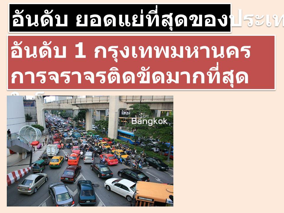 อันดับ ยอดแย่ที่สุดของประเทศไทย อันดับ 1 กรุงเทพมหานคร การจราจรติดขัดมากที่สุด ในโลก อันดับ 1 กรุงเทพมหานคร การจราจรติดขัดมากที่สุด ในโลก