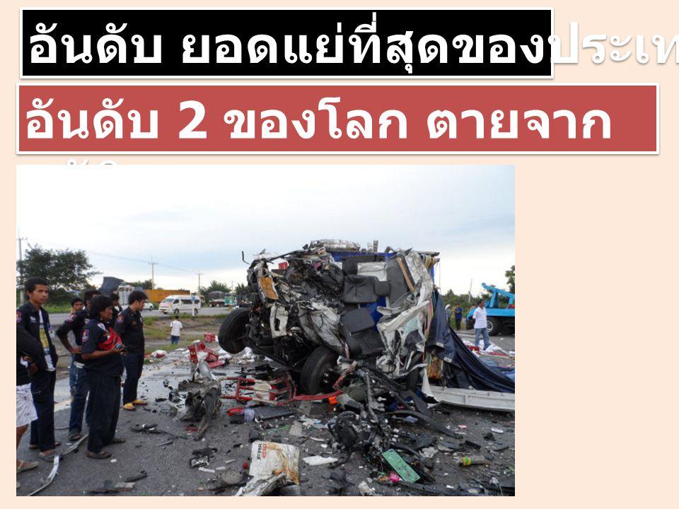 อันดับ ยอดแย่ที่สุดของประเทศไทย อันดับ 2 ของโลก ตายจาก อุบัติเหตุ