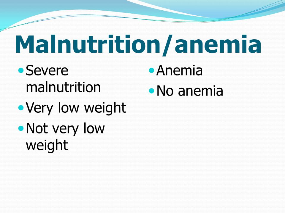Malnutrition/anemia Severe malnutrition Very low weight Not very low weight Anemia No anemia
