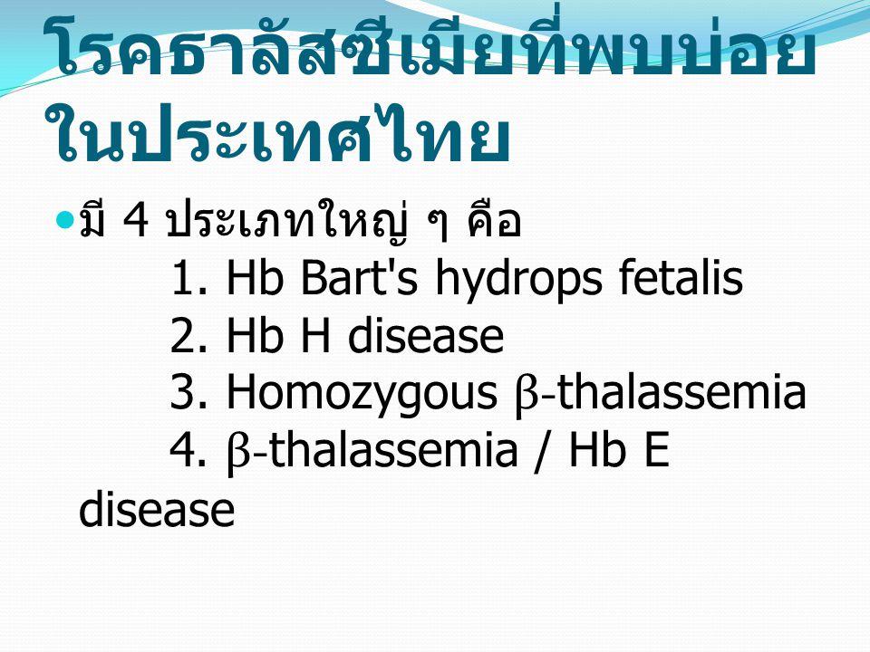 โรคธาลัสซีเมียที่พบบ่อย ในประเทศไทย มี 4 ประเภทใหญ่ ๆ คือ 1. Hb Bart's hydrops fetalis 2. Hb H disease 3. Homozygous β- thalassemia 4. β- thalassemia