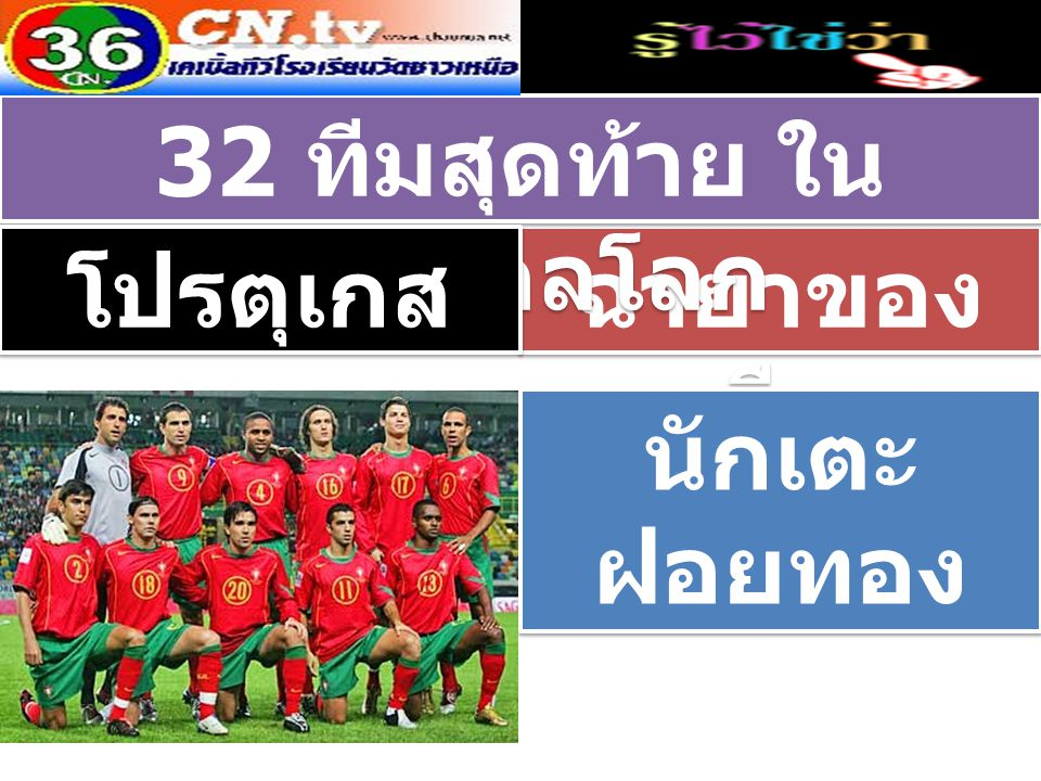 ฉายาของ ทีม 32 ทีมสุดท้าย ใน ฟุตบอลโลก โปรตุเกส นักเตะ ฝอยทอง นักเตะ ฝอยทอง