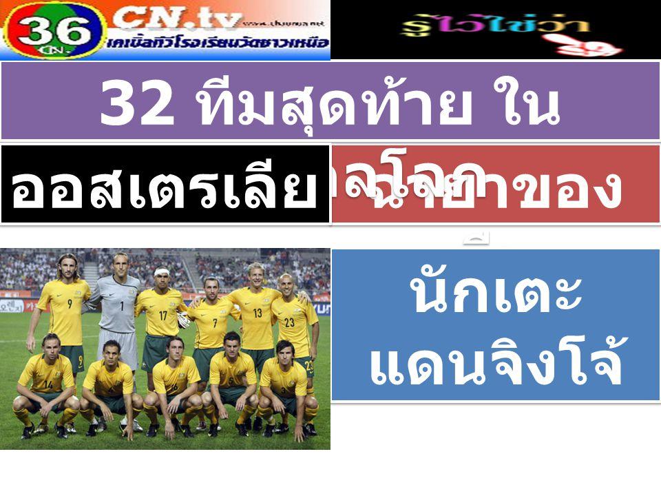ฉายาของ ทีม 32 ทีมสุดท้าย ใน ฟุตบอลโลก ออสเตรเลีย นักเตะ แดนจิงโจ้ นักเตะ แดนจิงโจ้
