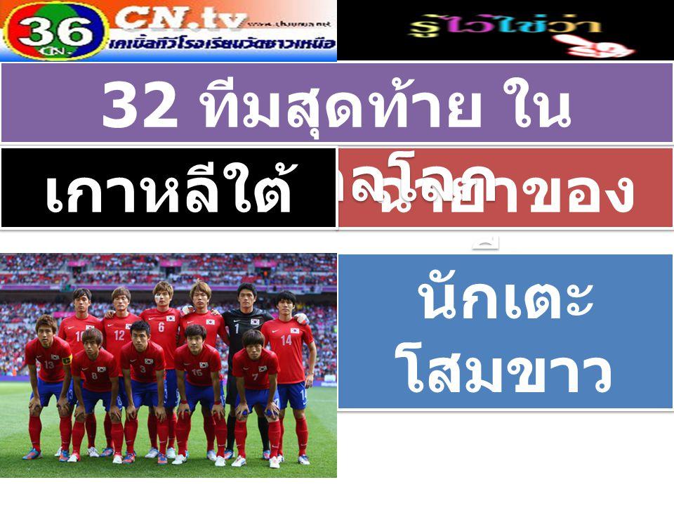 ฉายาของ ทีม 32 ทีมสุดท้าย ใน ฟุตบอลโลก เกาหลีใต้ นักเตะ โสมขาว นักเตะ โสมขาว