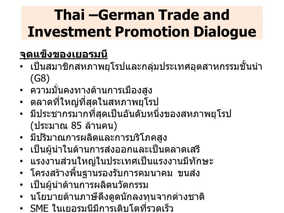 ปัญหาและอุปสรรคทางการค้า ภาคเอกชนไทยยังขาดความรู้และข้อมูลในการเข้าไปลงทุนใน เยอรมนี ส่งผลให้ปัจจุบัน นักธุรกิจไทยที่เข้าไปลงทุนในเยอรมนี ยังมีจำนวนน้อย มาตรฐานความปลอดภัยอาหาร (Food Safety) และการกำหนด โควตานำเข้าสินค้า เป็นอุปสรรคสำคัญต่อการขนส่งสินค้าอาหาร และประมงของไทยเข้าสู่ประเทศสมาชิกสหภาพยุโรป ประเด็นติดตาม การจัดการหารือระหว่างภาคธุรกิจไทยกับเยอรมนี เฉพาะราย ภาคธุรกิจ เพื่อเป็นการใช้ข้อมูลเชิงลึกสำหรับการเข้าไปลงทุนใน เยอรมนีแก่ภาคธุรกิจไทย การจัดงานแสดงสินค้าเกี่ยวกับธุรกิจยานยนต์ (Automotive) ณ ประเทศเยอรมนีในปี 2557 การแลกเปลี่ยนนักศึกษาระหว่างไทยและเยอรมนี เพื่อเป็นการ แลกเปลี่ยนวัฒนธรรมและความรู้ระหว่างทั้งสองประเทศ Thai –German Trade and Investment Promotion Dialogue