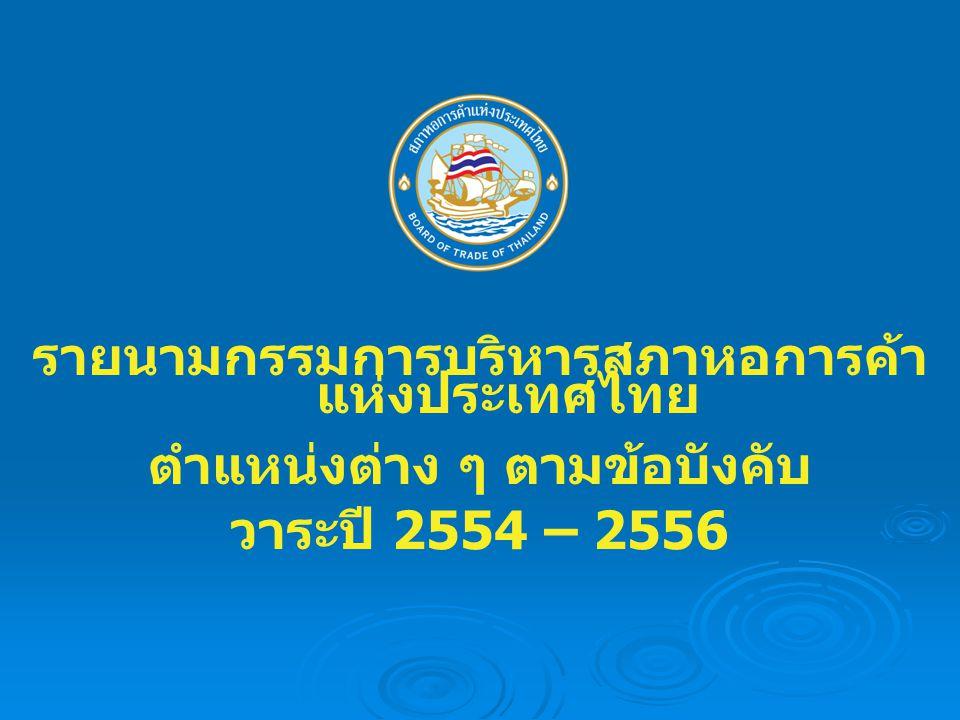 รายนามกรรมการบริหารสภาหอการค้า แห่งประเทศไทย ตำแหน่งต่าง ๆ ตามข้อบังคับ วาระปี 2554 – 2556