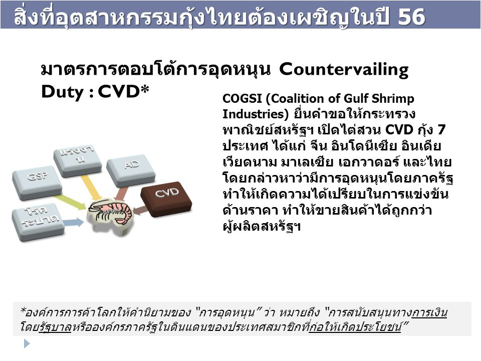 COGSI (Coalition of Gulf Shrimp Industries) ยื่นคำขอให้กระทรวง พาณิชย์สหรัฐฯ เปิดไต่สวน CVD กุ้ง 7 ประเทศ ได้แก่ จีน อินโดนีเซีย อินเดีย เวียดนาม มาเล