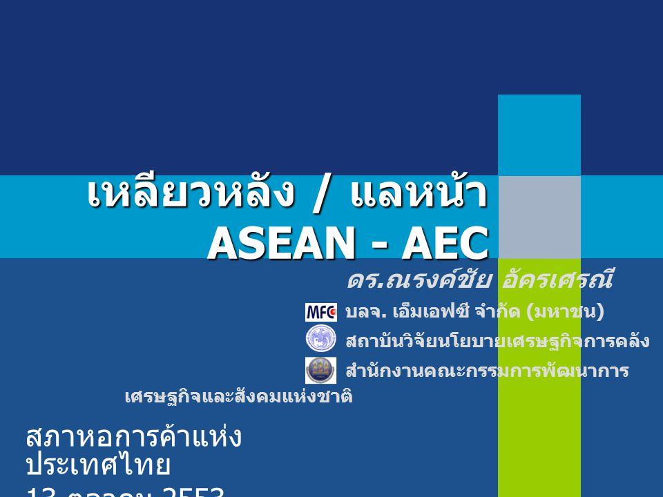 เหลียวหลัง / แลหน้า ASEAN - AEC สภาหอการค้าแห่ง ประเทศไทย 13 ตุลาคม 2553 ดร. ณรงค์ชัย อัครเศรณี บลจ. เอ็มเอฟซี จำกัด ( มหาชน ) สถาบันวิจัยนโยบายเศรษฐก