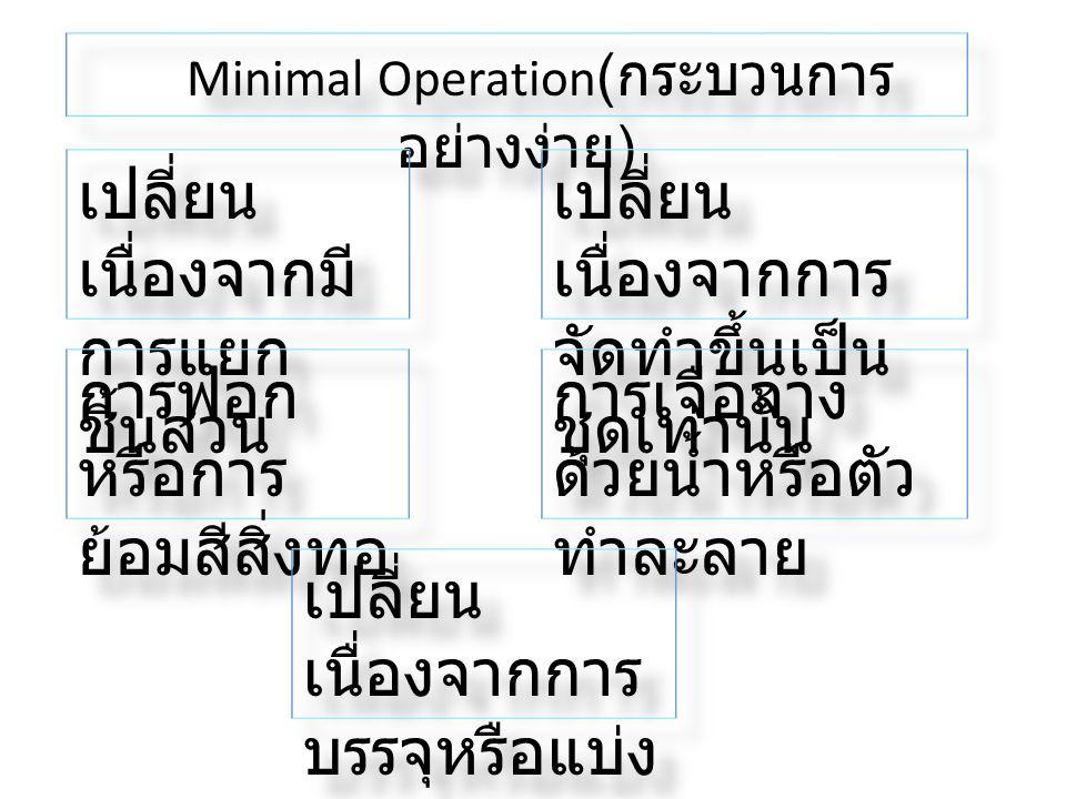 Minimal Operation ( กระบวนการ อย่างง่าย ) เปลี่ยน เนื่องจากมี การแยก ชิ้นส่วน เปลี่ยน เนื่องจากการ จัดทำขึ้นเป็น ชุดเท่านั้น การฟอก หรือการ ย้อมสีสิ่ง