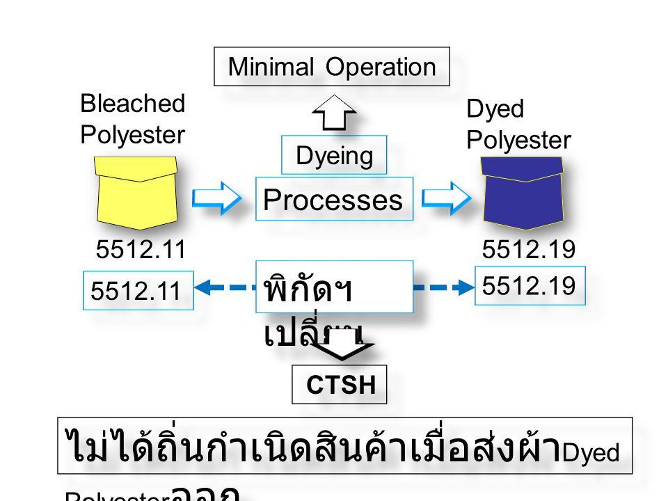 Bleached Polyester 5512.11 Processes Dyed Polyester 5512.19 Dyeing 5512.11 5512.19 พิกัดฯ เปลี่ยน CTSH Minimal Operation ไม่ได้ถิ่นกำเนิดสินค้าเมื่อส่