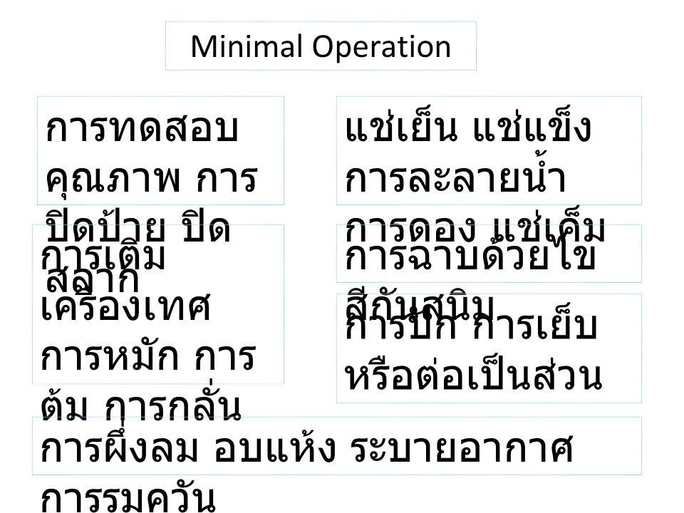 Minimal Operation การทดสอบ คุณภาพ การ ปิดป้าย ปิด สลาก แช่เย็น แช่แข็ง การละลายน้ำ การดอง แช่เค็ม การเติม เครื่องเทศ การหมัก การ ต้ม การกลั่น การฉาบด้