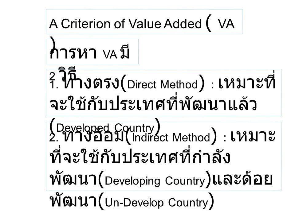 A Criterion of Value Added ( VA ) การหา VA มี 2 วิธี 1. ทางตรง ( Direct Method ) : เหมาะที่ จะใช้กับประเทศที่พัฒนาแล้ว ( Developed Country ) 2. ทางอ้อ
