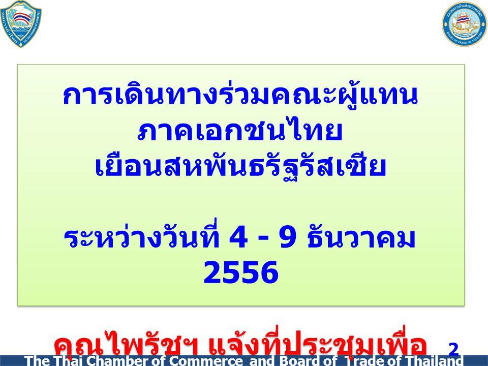 The Thai Chamber of Commerce and Board of Trade of Thailand การเดินทางร่วมคณะผู้แทน ภาคเอกชนไทย เยือนสหพันธรัฐรัสเซีย ระหว่างวันที่ 4 - 9 ธันวาคม 2556 คุณไพรัชฯ แจ้งที่ประชุมเพื่อ ทราบ การเดินทางร่วมคณะผู้แทน ภาคเอกชนไทย เยือนสหพันธรัฐรัสเซีย ระหว่างวันที่ 4 - 9 ธันวาคม 2556 คุณไพรัชฯ แจ้งที่ประชุมเพื่อ ทราบ 2
