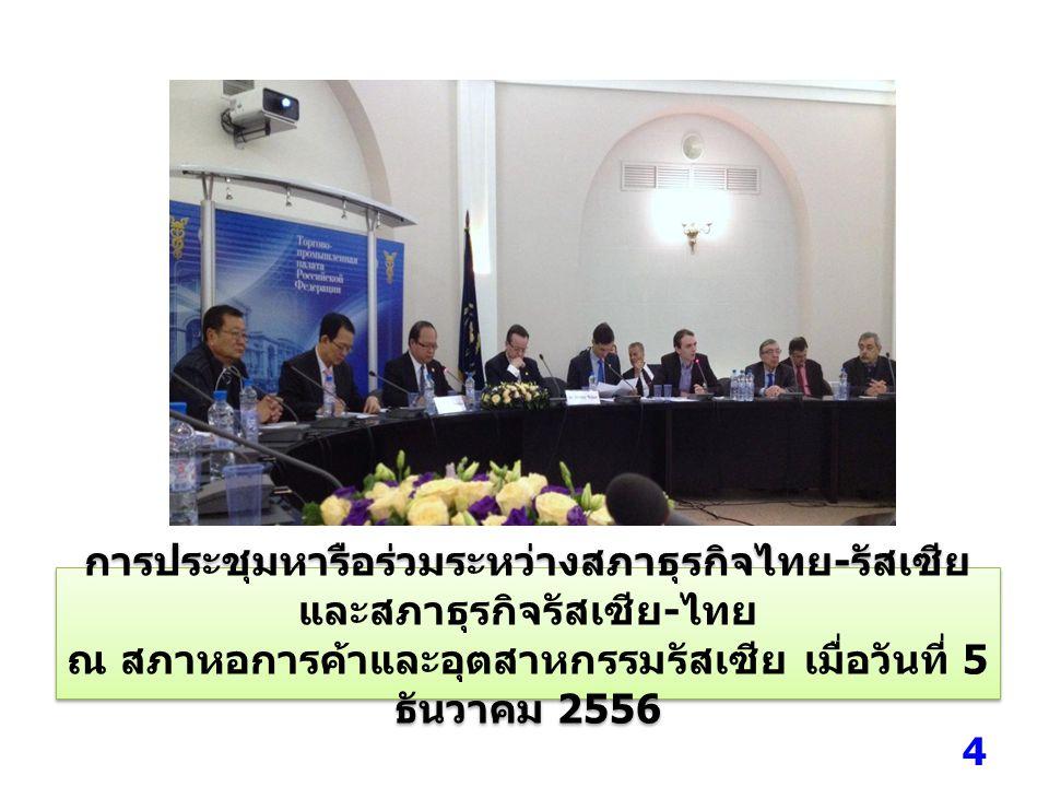 เมื่อวันที่ 5 ธันวาคม 2556 ( ช่วงค่ำ ) คณะผู้แทน ภาคเอกชนไทย เข้าร่วมงานวันเฉลิมพระชนมพรรษา พระบาทสมเด็จพระเจ้าอยู่หัว และเป็นสักขีพยานการลง นามในแผนงานร่วมระหว่างสภาธุรกิจไทย - รัสเซียและสภา ธุรกิจรัสเซีย - ไทย ณ ห้อง Atrium โรงแรม Baltschug Kempinski 5