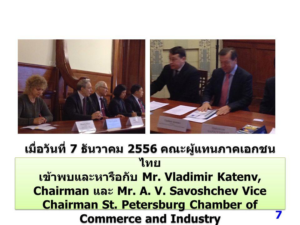 การเสวนาเกี่ยวกับ โอกาสการส่งเสริมความร่วมมือ ด้านการค้าและการลงทุนระหว่างไทยกับรัสเซีย เมื่อวันที่ 8 ธันวาคม 2556 ณ โรงแรม Park Hyatt Ararat 8