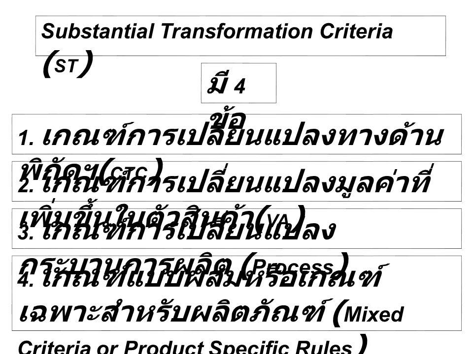 Substantial Transformation Criteria ( ST ) มี 4 ข้อ 1. เกณฑ์การเปลี่ยนแปลงทางด้าน พิกัดฯ ( CTC ) 2. เกณฑ์การเปลี่ยนแปลงมูลค่าที่ เพิ่มขึ้นในตัวสินค้า