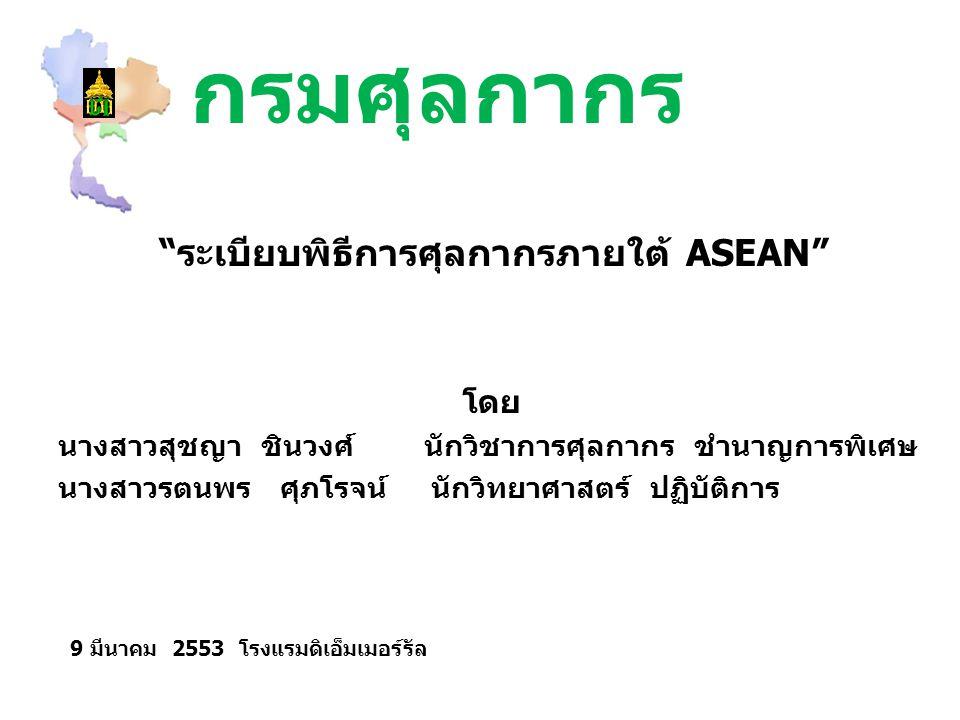 กรมศุลกากร โดย นางสาวสุชญา ชินวงศ์ นักวิชาการศุลกากร ชำนาญการพิเศษ นางสาวรตนพร ศุภโรจน์ นักวิทยาศาสตร์ ปฏิบัติการ ระเบียบพิธีการศุลกากรภายใต้ ASEAN 9 มีนาคม 2553 โรงแรมดิเอ็มเมอร์รัล