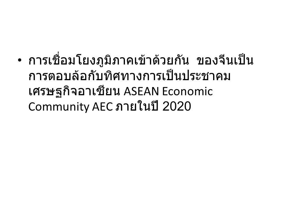 การเชื่อมโยงภูมิภาคเข้าด้วยกัน ของจีนเป็น การตอบล้อกับทิศทางการเป็นประชาคม เศรษฐกิจอาเซียน ASEAN Economic Community AEC ภายในปี 2020