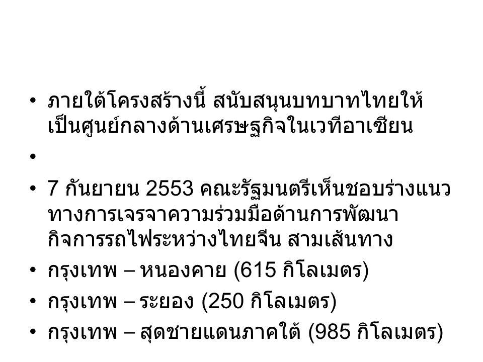 ภายใต้โครงสร้างนี้ สนับสนุนบทบาทไทยให้ เป็นศูนย์กลางด้านเศรษฐกิจในเวทีอาเซียน 7 กันยายน 2553 คณะรัฐมนตรีเห็นชอบร่างแนว ทางการเจรจาความร่วมมือด้านการพัฒนา กิจการรถไฟระหว่างไทยจีน สามเส้นทาง กรุงเทพ – หนองคาย (615 กิโลเมตร ) กรุงเทพ – ระยอง (250 กิโลเมตร ) กรุงเทพ – สุดชายแดนภาคใต้ (985 กิโลเมตร )