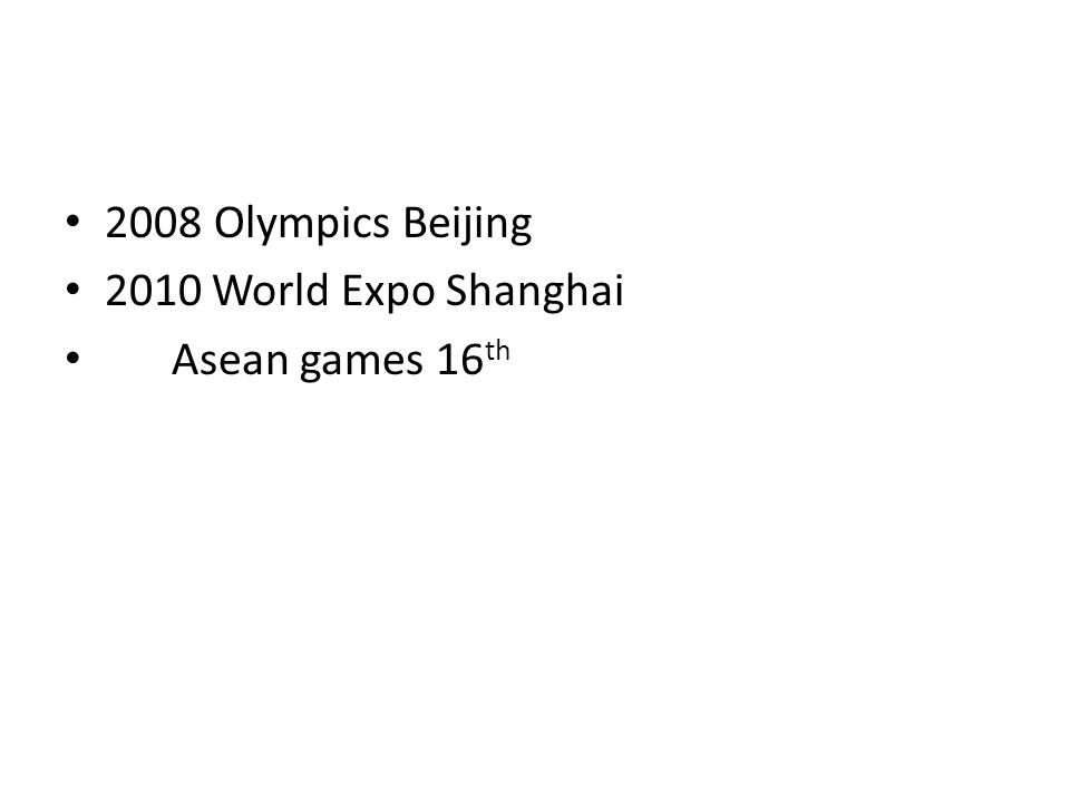 2008 Olympics Beijing 2010 World Expo Shanghai Asean games 16 th