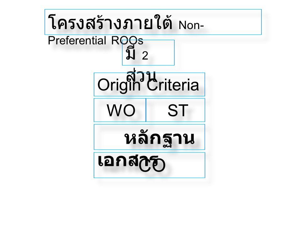 โครงสร้างภายใต้ Non- Preferential ROOs มี 2 ส่วน Origin Criteria WO ST หลักฐาน เอกสาร CO