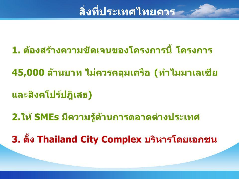 สิ่งที่ประเทศไทยควร ทำ 1. ต้องสร้างความชัดเจนของโครงการนี้ โครงการ 45,000 ล้านบาท ไม่ควรคลุมเครือ (ทำไมมาเลเซีย และสิงคโปร์ปฎิเสธ) 2.ให้ SMEs มีความรู