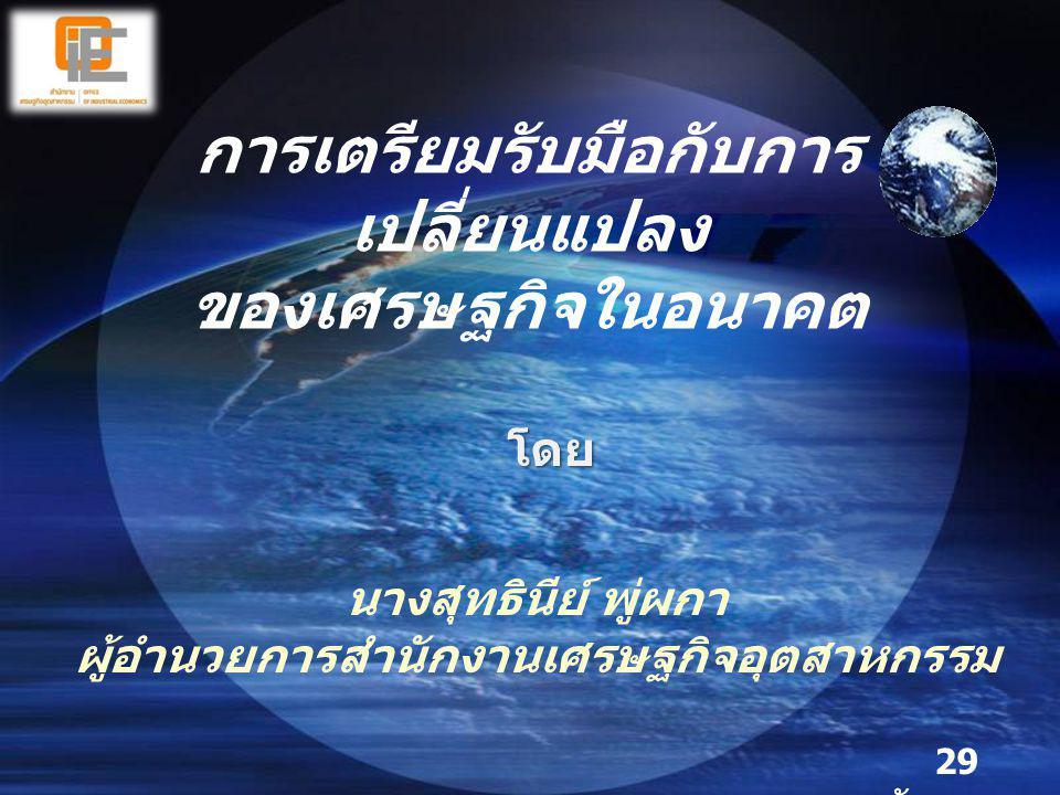 การเตรียมรับมือกับการ เปลี่ยนแปลง ของเศรษฐกิจในอนาคต 29 กันยายน 2553 โดย นางสุทธินีย์ พู่ผกา ผู้อำนวยการสำนักงานเศรษฐกิจอุตสาหกรรม