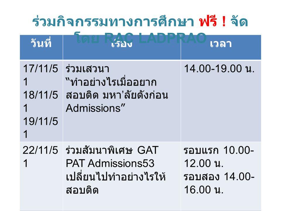 วันที่เรื่องเวลา 17/11/5 1 18/11/5 1 19/11/5 1 ร่วมเสวนา ทำอย่างไรเมื่ออยาก สอบติด มหา ' ลัยดังก่อน Admissions 14.00-19.00 น.